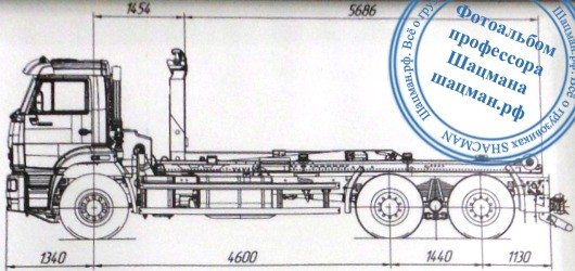 Эскиз и габаритные размеры мультилифта PALFINGER PH T20Pi на шасси КАМАЗ-6520